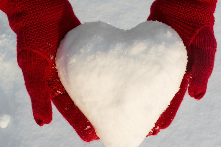 Snow shaped like heart
